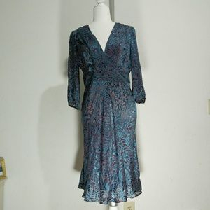 Vocabulary paisley jacquard silk blend dress
